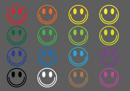 A set of sixteen colored smileys Stock Vector - 17372784