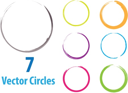 Seven colored vector circles in grunge style Stock Vector - 20947692