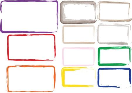 Vector set of grunge square brush strokes for frames, icons, design elements Ilustração