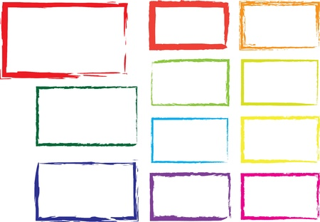 Vector set of grunge square brush strokes for frames, icons, design elements 일러스트