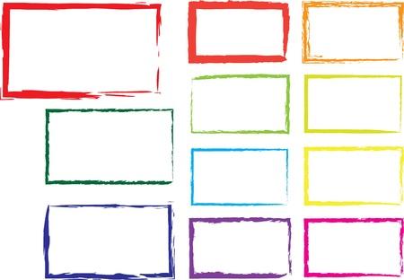 Vector set of grunge square brush strokes for frames, icons, design elements Illustration