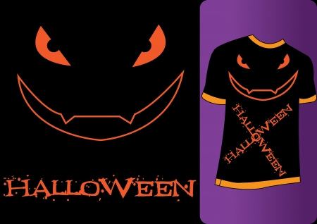 Orange Tshirt with the word Halloween with a scary face Vector