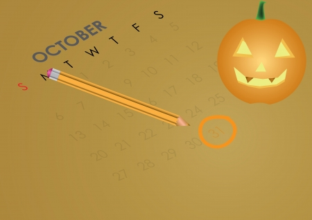 prominence: Halloween October Calendar showing the 31st prominently