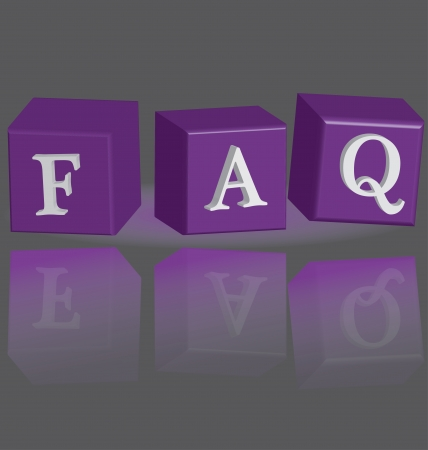 3d frequently asked questions text colorful, isolated on a gray background Vector
