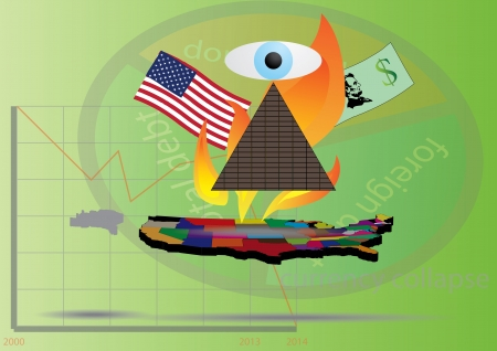 Default of economy of the United States of America Vector