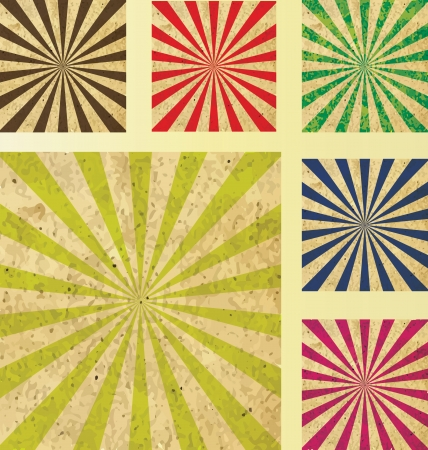 Vintage set of multicolored rays on grunge retro background Vector