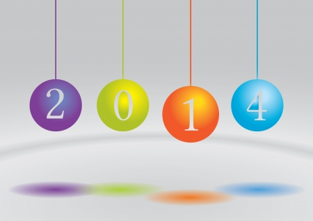 Cute and colorful card for the new year 2014 Vector