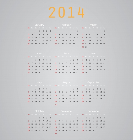 Simple vector calendar for 2014 with all the months Vector