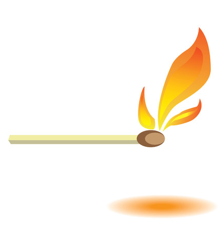 Vector illustration lit match burning with fire