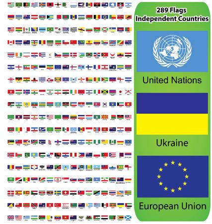 세계의 모든 나라의 국기와 유럽, 아시아, 미국, 호주 대륙