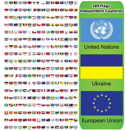 Flags of all countries in the world and continents  Europe, Asia, America, Australia Vector