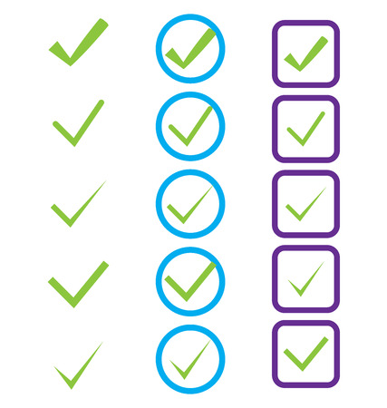 Vector illustration of icons showing confirmation painted green Vector