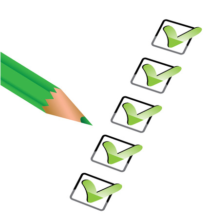 Vector illustration of icons showing confirmation painted green