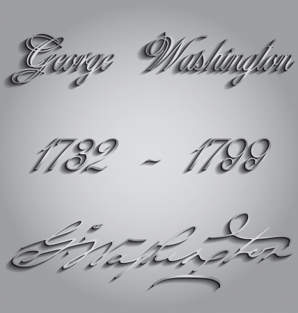 george washington: Vector illustration dedicated to George Washington birthday with a signature Illustration