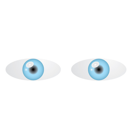 Vector illustration of two blue eyes on white background Vector