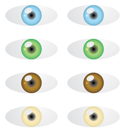 Isolated set of eyes with color variations Vector