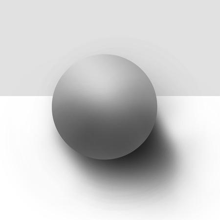 Gray ball drawn in pencil on a gray background photo