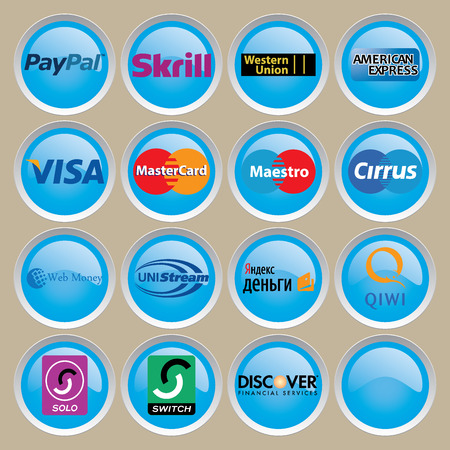 Logos Visa, Cirrus, Master Card, Maestro, PayPal, Western Union, Skrill, Discover, American Express, WebMoney, Unistream, Switch, Solo, Qiwi, Yandex Editorial