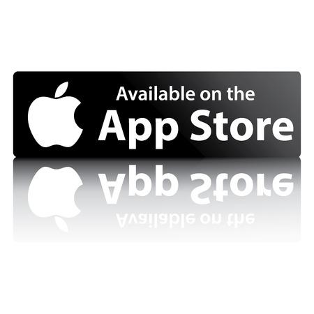 단어 애플 앱 스토어와 흰색 배경에 반사와 검은 색 버튼을 에디토리얼