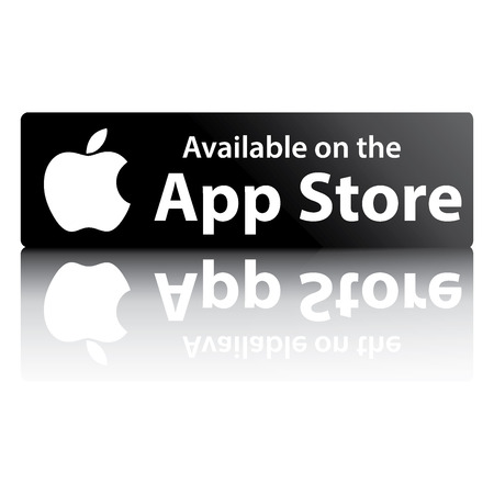 information button: Black button with reflection on a white background with the word Apple app store