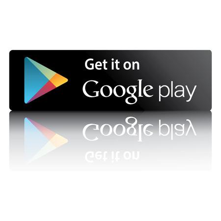 단어를 구글 플레이 시장과 흰색 배경에 반사와 블랙 버튼 에디토리얼
