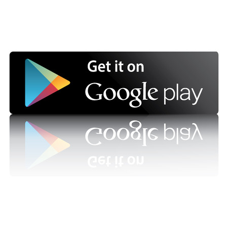 download music: Black button with reflection on a white background with the word Google play market
