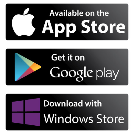 download music: Set icons Google play store, Apple appstore, Windows store Editorial