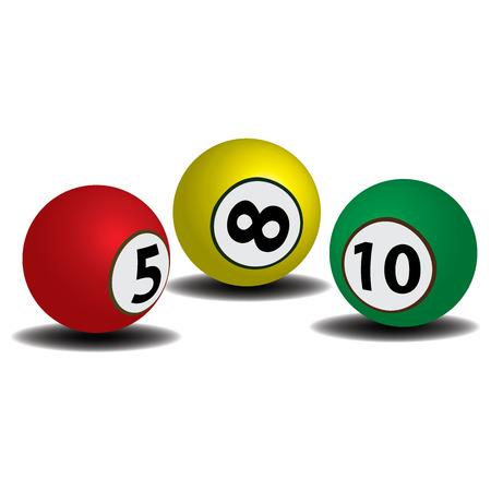 Three colorful billiard ball on a white background 일러스트