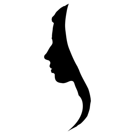 Beautiful and sophisticated black female silhouette on a white background Ilustração