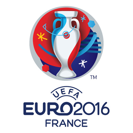 football trophy: The official logo of the European Football Championship 2016 to be held in France