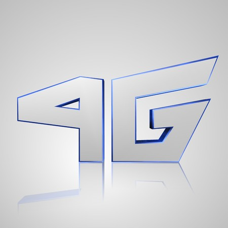 flew: 3d text for business and website design. With central word Mobile network 4G