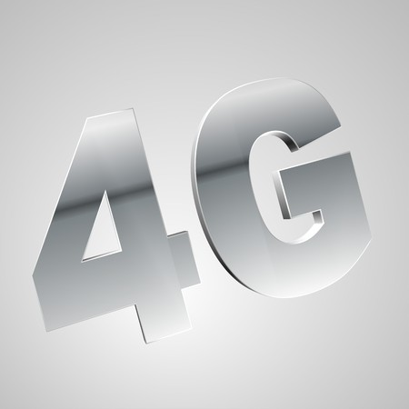high frequency: 3d text for business and website design. With central word Mobile network 4G