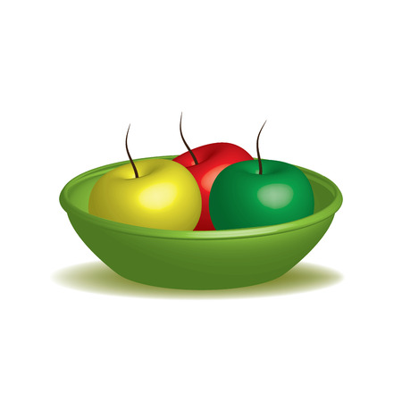 illustration in 3d apple in a tray on a table color