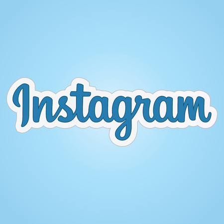 Text Instagram logo isolated on a pleasant background