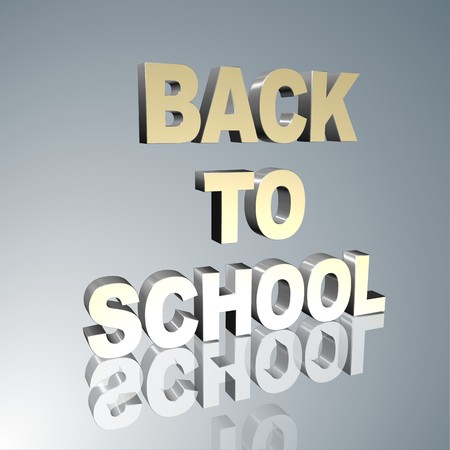 prerequisite: 3d text for business and website design. With central word Back to school Stock Photo