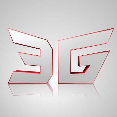 high frequency: 3d text for business and website design. With central word Mobile network 3G