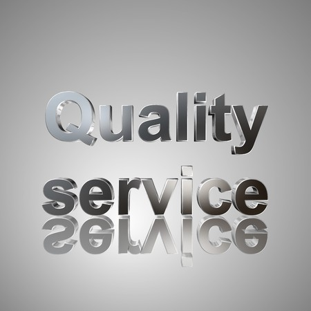 quality service: 3d text for business and website design. With central word Quality service