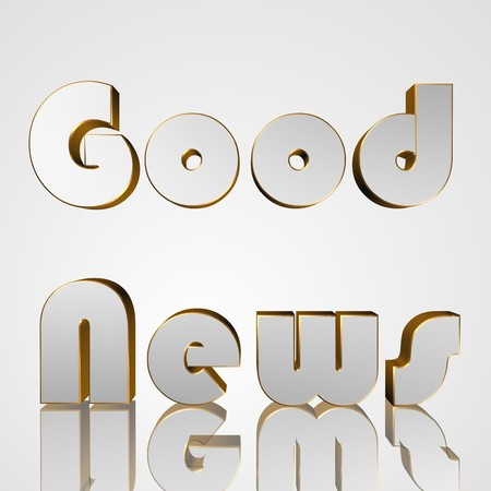 succeeding: 3d text for business and website design. With central word Good News Stock Photo