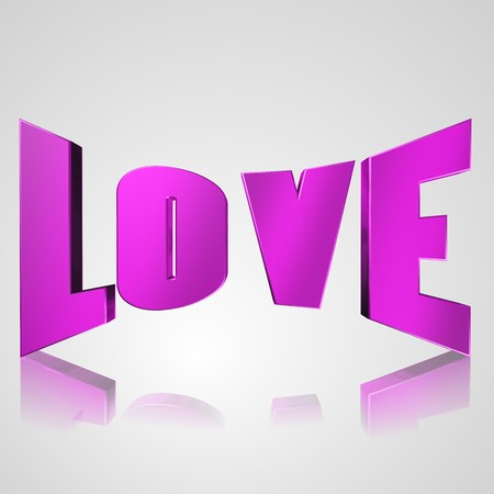 prerequisite: 3d text for business and website design. With central word love Stock Photo