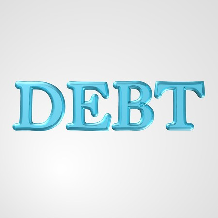 owe: 3d text for business and website design. With central word Debt Stock Photo