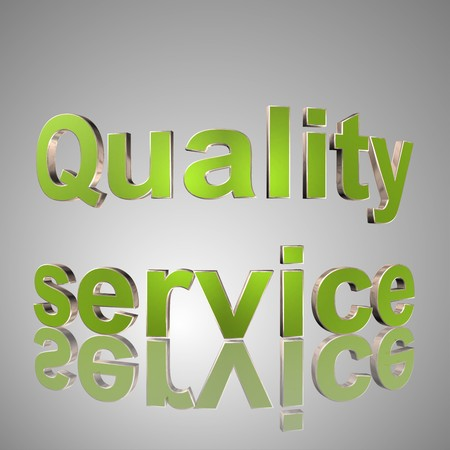 3d text for business and website design. With central word Quality service