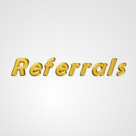 referrals: 3d text for business and website design. With central word Referrals