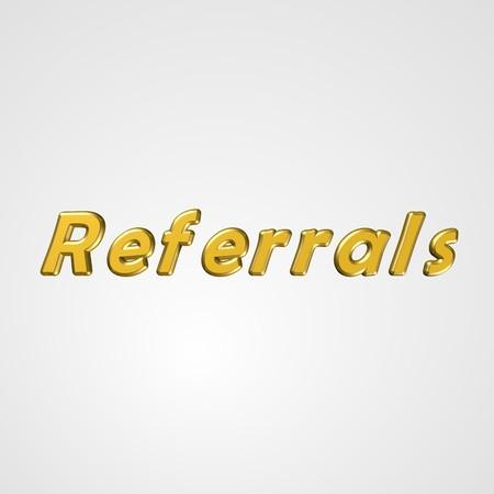 referidos: Texto en 3D para el dise�o de negocios y el sitio web. Con palabras Referidos centrales