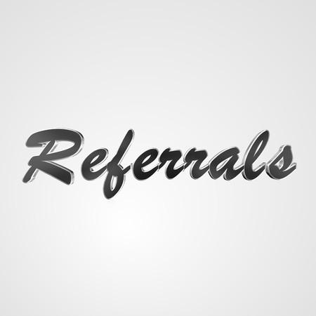 referidos: Texto en 3D para el diseño de negocios y el sitio web. Con palabras Referidos centrales