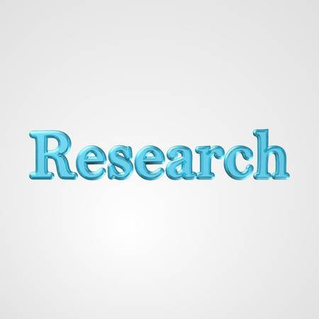 allocated: 3d text for business and website design. With central word Research