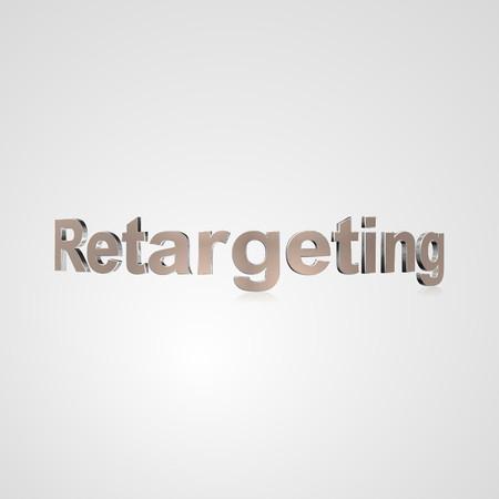 3d tekst voor het bedrijfsleven en website-ontwerp. Met centrale woord Retargeting