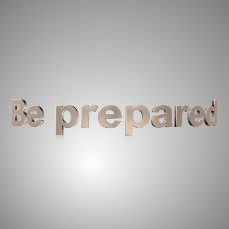 prepared: 3d text for business and website design. With central word Be prepared Stock Photo