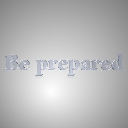 readiness: 3d text for business and website design. With central word Be prepared Stock Photo