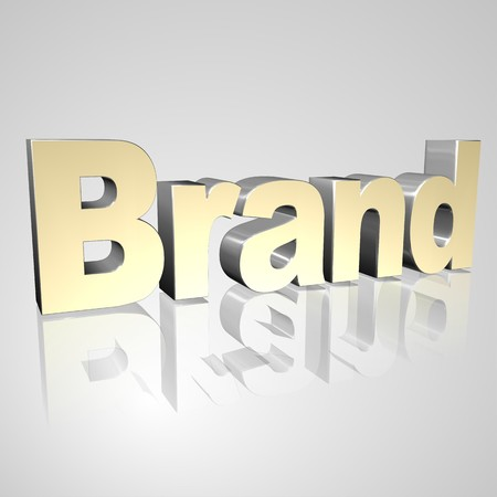 3d text for business and website design. With central word Brand