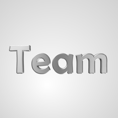 ours: 3d text for business and website design. With central word Team